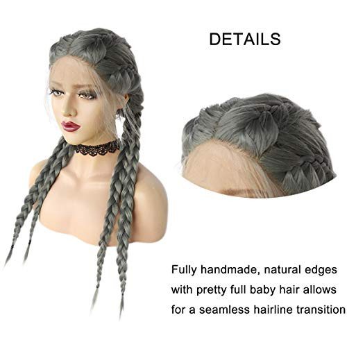Long Gray Braided Wigs for Black Women, Sliver Double Dutch